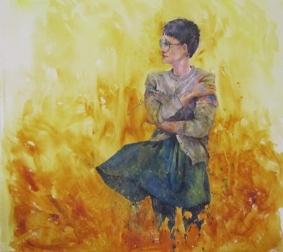 lost-in-the-sea-of-gold-watercolour-on-canvas-sold